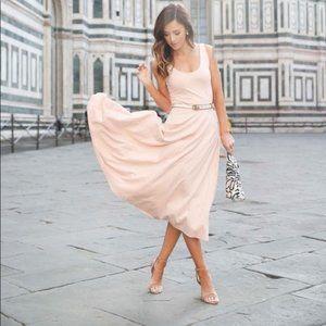 LEITH Nude Light Pink Tank Scoop Neck Pocket Dress